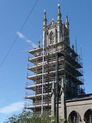 st stephens tower with scaffold prior to rebuild by Minerva